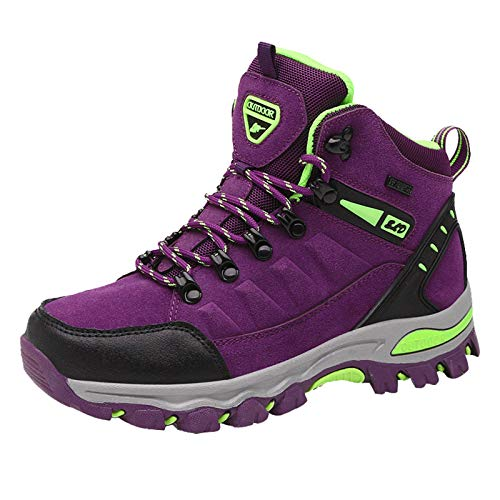 Xmiral Damen Outdoor Wanderschuhe rutschfeste Outdoor Schuhe verschleißfeste Wanderschuhe Reiseschuhe Sneakers(38,Lila)