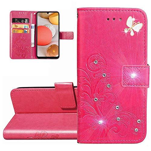 Carcasa Xiaomi Mi 10T Lite,Funda Xiaomi Mi 10T Lite Trébol de diamante Bling en relieve Carcasa de Tipo Libro Ranuras para Tarjetas de Soporte y Solapa con Cierre magnético Case,Clover Rose