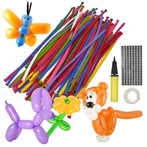 103 Stück Party Modellierballons Kit| 100 Bunt Luftballons, Handpumpe, Klebepunkte & Augenaufkleber| Sicher Langlebig & Einfach zu Bedienen| Ballontiere Kindergeburtstag Hochzeit Clown Partyzubehör.