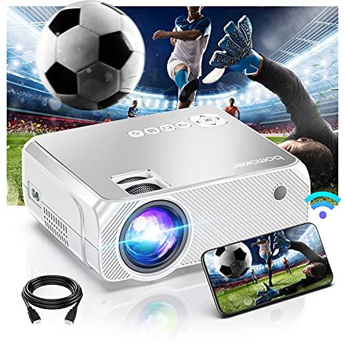 BOMAKER Mini projecteur WiFi, Vidéoprojecteur de cinéma extérieur Portable, Projecteur Full HD pour Films en Plein air, Miroir sans Fil, Compatible avec télé, PC, TV Box, PS4, Lecteur DVD - Blanc