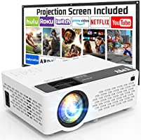 TMY Projector with 100 Inch Projector Screen, 1080P Full HD Supported Video Projector, Mini Movie Projector Compatible...
