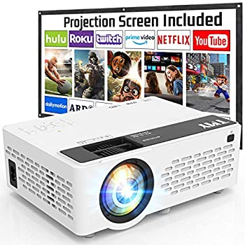 TMY Projector with 100 Inch Projector Screen 1080P Full HD Supported Video Projector Mini Movie Projector Compatible with TV Stick HDMI VGA USB TF AV for Home Cinema & Outdoor Movie.