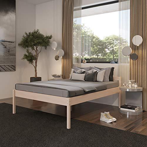 Hansales Seniorenbett 160x200 cm Holzbett 55 cm Hoch mit Kopfteil - 350 kg Stabiles Doppelbett für Senioren - Unbehandeltes FSC zertifiziertes Birken Massivholz - Ehebett