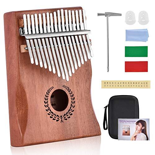 17 tasti Thumb Piano, con istruzioni di studio e Tune Hammer, Portable Mbira Sanza African Wood Finger Piano, per bambini ragazza ragazzo Principianti adulti