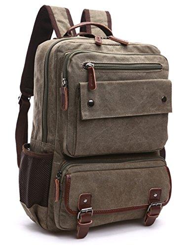 Aidonger Unisex Vintage Canvas Daypack Laptop Rucksack (Armee Grün)