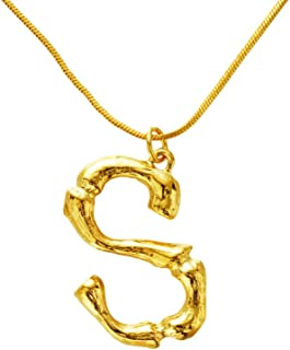 26 Letter Large Initial Necklace Women Gold Pendant Name Necklaces Bamboo Ladies Fashion Pendants Jewelry
