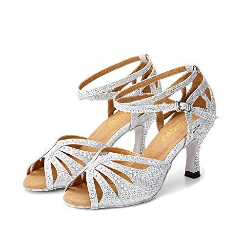 TTdancewear Women Silver Rhinestone Ballroom Dance Shoes Latin Salsa Performance Dance Shoes 6.5 Silver-2.5inch Heels