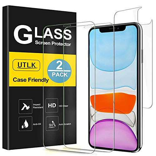 UTLK Screen Protector for iPhone 11, [2 Front+2 Back ] [6.1 inch], HD Clear Tempered Glass screen protector for iPhone 11, Case Friendly