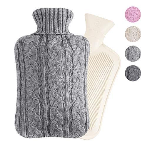 Segorts Wärmflasche für Bett, warme Taille, warme Rückseite, Wärmflasche mit superweichem Plüschbezug, 2 l, Naturkautschuk für Rücken, Nacken, Beine