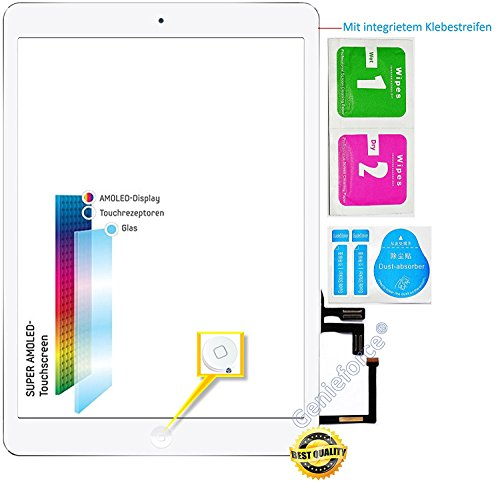 Genieforce® Premium Retina touchscreen glas digitizer wit voor iPad Air 5. generatie display, compleet met originele LVA flexkabel, homebutton - incl. 3-delige reinigingsset - wit - nieuw
