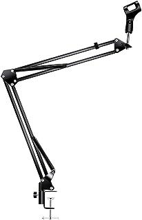 AKEIE マイクスタンド 卓上 折り畳み式 マイクアーム mic stand 伸縮 デスクアーム 角度や高さ調節可能 音声入力 カラオケ 実況 配信 収録 ブラック 日本語説明書付 【改良版】