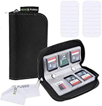 Memory Card Case - 2 Pack - Fits up to 22x SD, SDHC, Micro SD, Mini SD and 4X CF - Holder with 22 Slots (8 Pages) - for Storage and Travel - Microfiber Cleaning Cloth and Labels Included