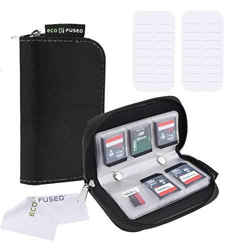 Speicherkarten-Tasche - 2 Stück - Passend für bis zu 22x SD, SDHC, Micro SD, Mini SD und 4X CF - Halterung mit 22 Schlitzen (8 Seiten) - Zur Aufbewahrung und für unterwegs (Schwarz (2X))
