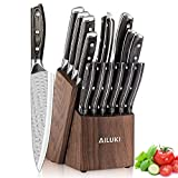 Knife Set,16 PCS Kitchen Knife Set with Block Wooden,Japanese Stainless Steel,Professional Chef Knife Set Manual Sharpening Ultra Sharp Full Tang Handle Design Knife Block Set