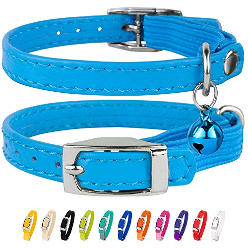 CollarDirect Leather Cat Collar, Cat Safety Collar with Elastic Strap, Kitten Collar for Cat with Bell Black Blue Red Orange Lime Green (Neck Fit 9'-11', Light Blue)