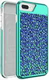 Body Glove Shimmer Reversible Sequins Phone Case for iPhone 6 Plus, 6s Plus, 7 Plus, 8 Plus - Iridescent Teal/Purple and Black