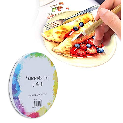 Watercolor Paper Painting, Portable Cold Pressed Pure Cotton Paint Paper Acid Free Portable(Round Watercolor Book 10.5cm/24 Sheets)