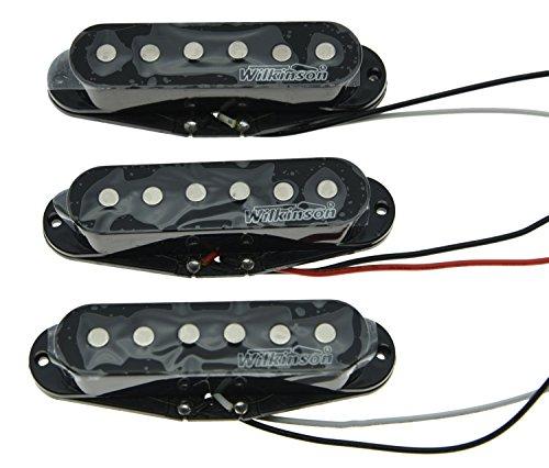 Wilkinson Lic - Pastillas de guitarra, una sola bobina, para Stratocaster, color blanco, vintage, negro