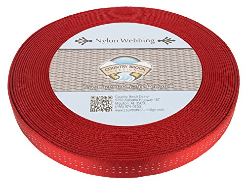 Country Brook Design 1 Inch Red Climbing Spec Tubular Nylon Webbing, 10 Yards