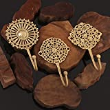 IndianShelf Handmade Vintage Pack of 3 Golden Patina Floral Boho Brass Wall Hooks Cloth Hanger Key Holder with Screw and Anchor