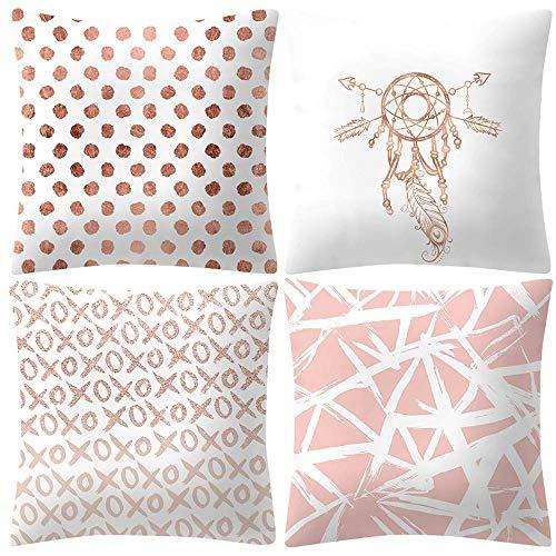FENGLI Pale Rose Pink Pillowcase, Set of 4 Gold Foil Cushion Cover, Soft Skin Cashmere, 4 PC 45cm *45cm, Home Decoration, Living Room, Sofa, (G) (Color : H)