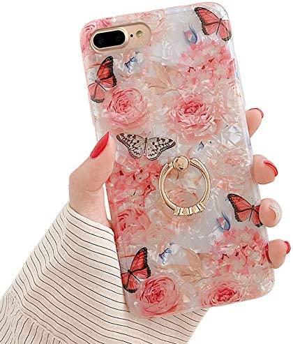 Qokey for iPhone 8 Plus Case iPhone 7 Plus Case 5 5 inch Flower Cute Stand Cover for Women Girls product image