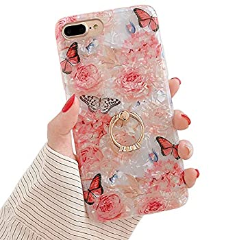 Qokey for iPhone 8 Plus Case,iPhone 7 Plus Case 5.5 inch Flower Cute Stand Cover for Women Girls 360 Degree Rotating Ring Stand Kickstand Soft TPU Shockproof Rose Butterfly