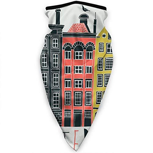 Qing_II Winddichte Gesichtsmaske Bandana Amsterdam Kanal Häuser Stirnband Multifunktionale Kopfbedeckung Outdoor Sonnenschutz Sturmhaube