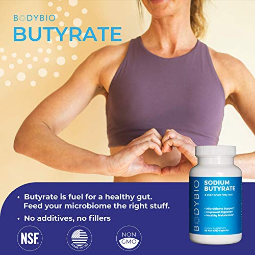 BodyBio Butyrate with Sodium - Supports Healthy Digestion, Gut & Microbiome - Increases Leptin Production for Appetite Control - No Fillers or Additives - 60 Capsules