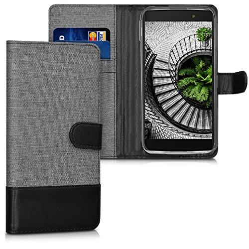 kwmobile Wallet Hülle kompatibel mit Alcatel Idol 4S - Hülle Kunstleder mit Kartenfächern Stand in Grau Schwarz