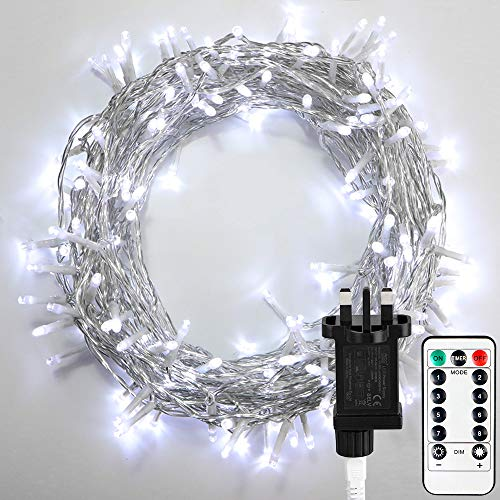 STARKER 20m 200 LED Fairy Lights Plug in, Outdoor Gazebo Lights Mains Powered String Lights with Remote & Timer, 8 Modes Flashing Lights for Indoor Outside Xmas Decorations (Cool White)