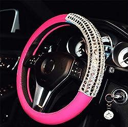 "15"" Car Steering Wheel With Soft Leather & Rhinestone-B"