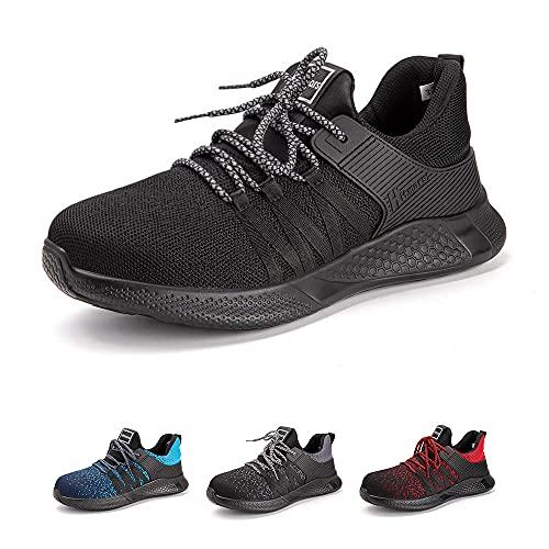 Zapatos de Seguridad Hombre Mujer con Punta de Acero Zapatillas de Trabajo Ligeras y Cómodas Calzado de Construcción Z Negro 43 EU