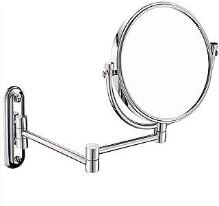 YASE-king Wall-Mounted Makeup Mirror Bathroom Metal 8 Inch Makeup Mirror Folding Vanity Mirror 3X Magnifying Mirror (Color...