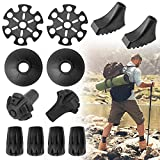 """Trekking Pole Accessories Set, 11mm/0.43 """" Replacement Rubber Trekking Pole Tips Protectors, Trekking Hiking Poles Tips Snow Support Mud Support Fits Most Trekking Poles, Hiking Sticks, Walking Poles"""