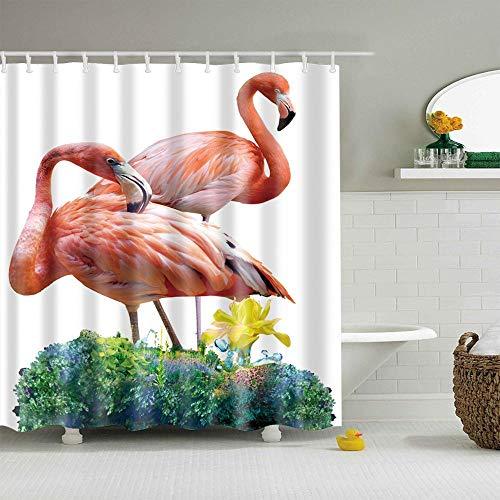XCBN Baño de Flamenco en 3D Rosa Individual, Cabina de Ducha Grande, Cortina de Ducha Impermeable y a Prueba de Moho, baño A3 180x180cm