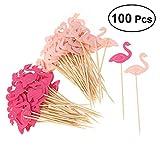 Vosarea 100 Pezzi Flamingo Cupcake Toppers Torta Festa di Compleanno Raccoglie Cibo Decora...