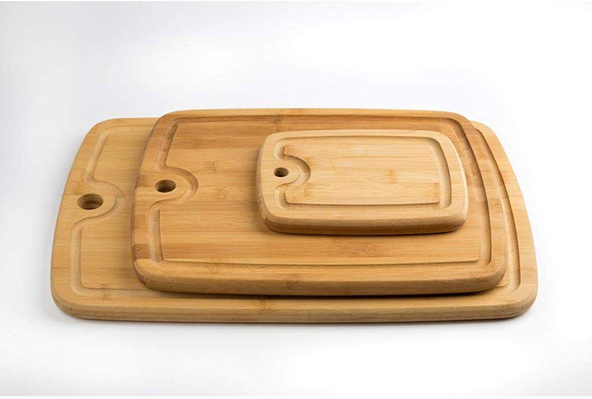 Core Bamboo 3 Piece Bamboo Cutting Board Set With Juice Well