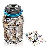 MOMMED Hucha, Contador de Dinero de Hucha, Caja de Ahorro de Monedas Euro Caja de Ahorro Eléctrico Contando Gran Capacidad para Pantalla LCD (1.8L)