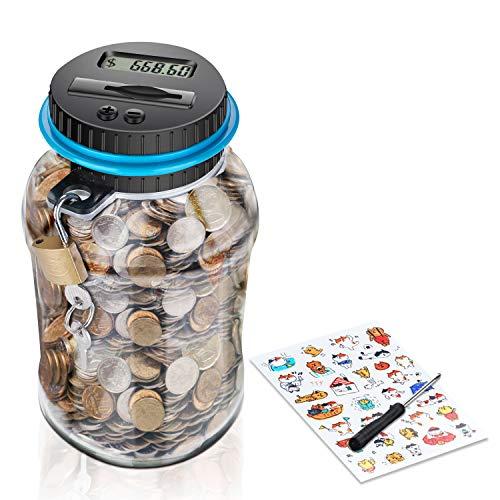 Digitale Spardose mit Münzzähler für Kinder und Erwachsene - Sparbüchse mit Zähler für Münzen - Lustiges Sparschwein für Kleingeld - Große elektrische Sparkasse - 1,8l Sparflasche