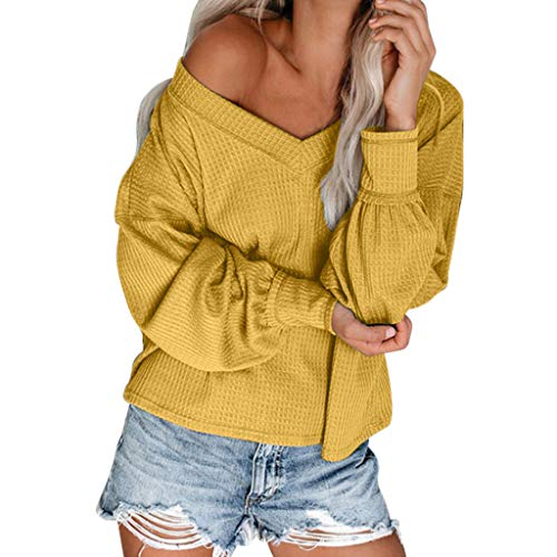 Great Deal! Amlaiworld Women Fashion Sweater Off Shoulder Loose Pullover Knitwear Solid Blouses Long...