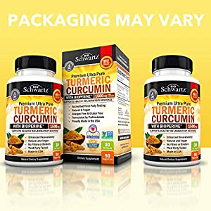 Turmeric Curcumin with BioPerine 1500mg. Highest Potency Available. Premium Joint & Healthy Inflammatory Support with 95% Standardized Curcuminoids. Non-GMO, Gluten Free Capsules with Black Pepper #5