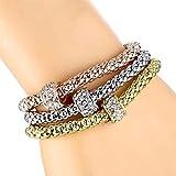 CCBZK 3 unids/Set Pulsera y Brazalete de corazón de Cristal de búho Dorado/Plateado Elefante Ancla Colgante Pulsera de Diamantes de imitación para Mujer Regalo