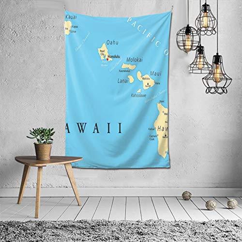 WINCAN Tapiz para Colgar en la Pared,Mapa de Las Islas de Hawái con Capital Honolulu, fronteras,Tapiz de Pared con decoración para el hogar,Sala de Estar,Dormitorio decoración,152x102cm