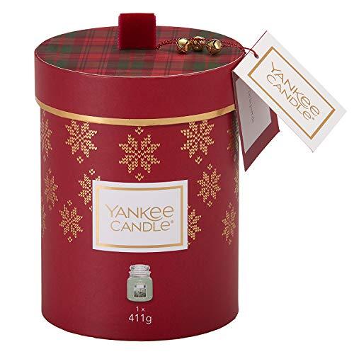YANKEE CANDLE Set Regalo contenente 1 Candela profumata in giara Media nella fragranza Abete Bianco, Confezione Regalo Natalizia