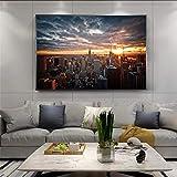 Skline of Manhattan Pictures New York City Sunset View Pinturas en lienzo en la pared Carteles e impresiones artísticos Decoración para el hogar 30x40cm Sin marco