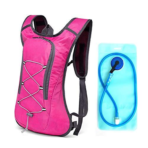 AI-ML Fahrradrucksack mit 2L Trinkblase 8L Trinkrucksack Skirucksack Wasserdicht Rucksäcke für Wandern, Klettern, Fahrradfahren, Camping Outdoor Sportrucksack Ultraleicht Fahrrad Rücksack,Pink