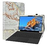 Labanema Custodia per Teclast X4, PU Pelle Slim Flip Case Cover Protettiva Pieghevole Stand per 11.6' Teclast X4 2 in 1 Laptop Tablet - Map White