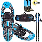 NEWTENDENCY 25'/30' Terrian Lightweight Snowshoes+Adults Men Women Youth Trail Snow Shoes+Waterproof Leg Gaiters +Anti-Shock Adjustable Trekking Poles Snowshoeing +Free Carrying Bag (Blue) (Blue, 25)