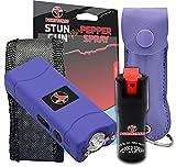 FIGHTSENSE Mini Stun Gun & Pepper Spray Combo Pack for Self Defense - Extremely Powerful Stun Gun with Flashlight